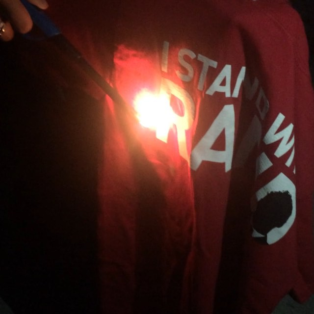 #StandWithRand t-shirt burning to protest Rand Paul's Iran deal statement. #tlot #antiwar