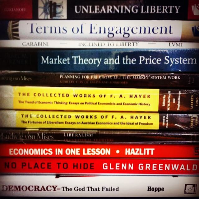 """All the books I came home with from my """"Summer of Liberty"""" last year. #books #libertarian"""