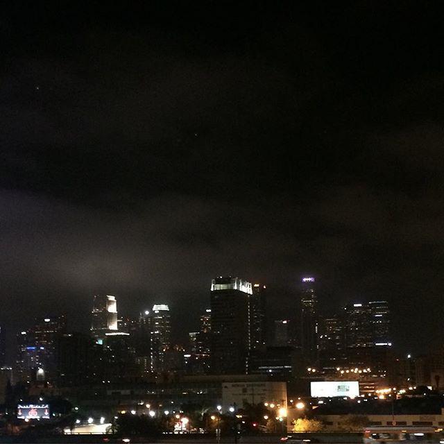 Los Angeles at night. I wish I had a better camera on my phone. #dtla #losangeles #laskyline