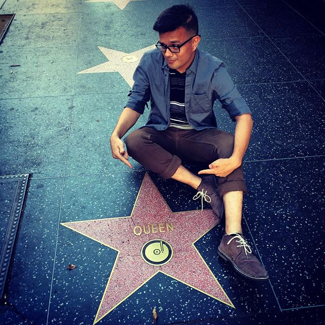 "Look, it's my star. Because I'm a ""Queen."" Hurr durr! #losangeles #hollywood #gayboy #badjoke"