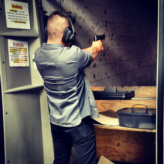 At the Los Angeles Gun Club shooting at paper. Second time shooting a pistol. My three-time rifle expert qualification didn't really translate for handguns. #dtla #losangeles