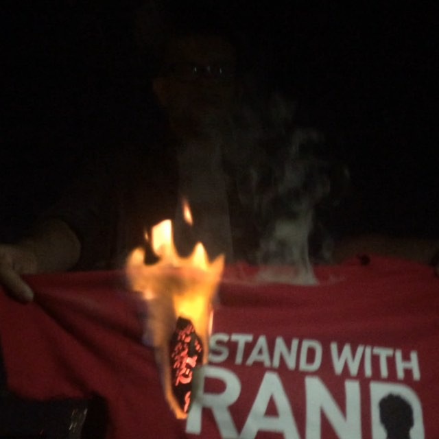 More #StandWithRand t-shirt burning to protest Rand Paul's Iran deal statement. #tlot #antiwar