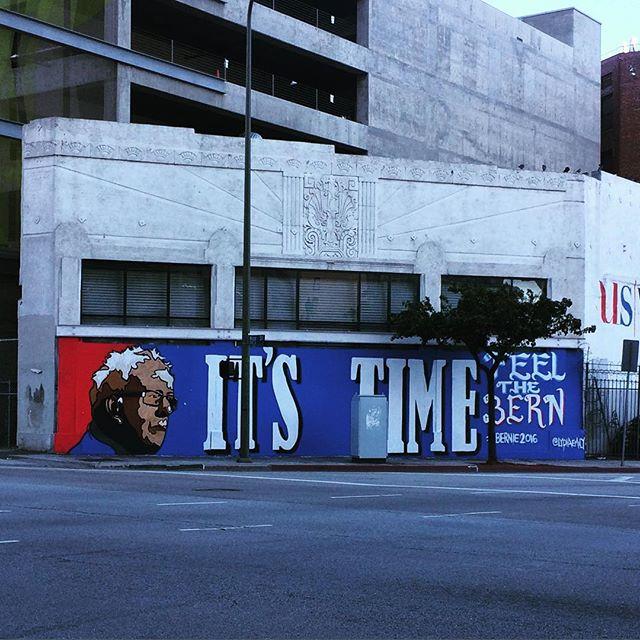 Spotted in downtown Los Angels, giant Bernie Sanders mural. #dtla #losangeles #feelthebern #lastreetart