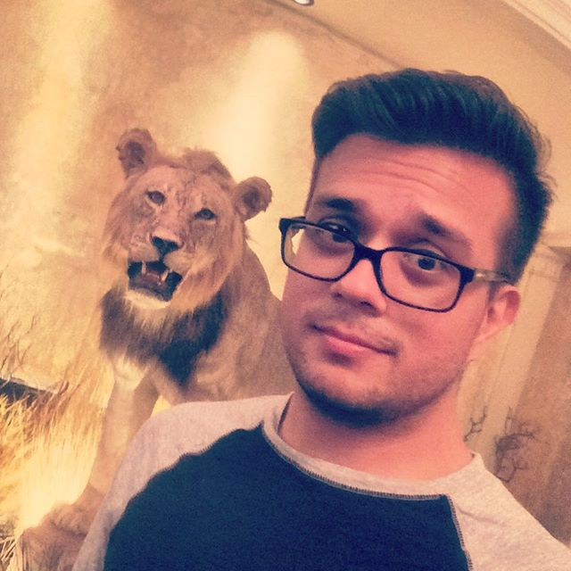 Clifton's Cafeteria and this stuffed lion. #dtla #losangeles #gayboy
