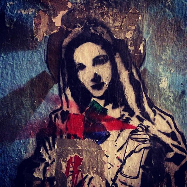 Street art in downtown Los Angeles depicting the Virgin Mary. @violentz would approve probably, even if it's not a statue.